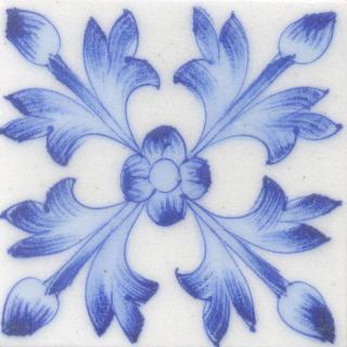 Light Blue Flowers and leaf with White Base Tile