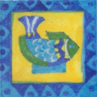 Turquoise and Green Fish with Yellow Base Tile