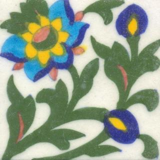 Blue,Yellow and Turquoise Flower and Green leaf with White Base Tile