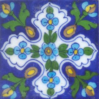 Turquoise,Brown and Blue Tile design