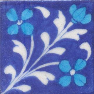 Turquoise Flowers and White leaf with Blue Base Tile