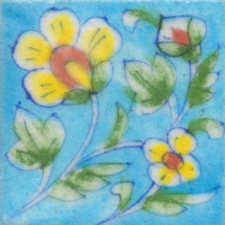 Yellow and Brown Flower and Lime Green leaf with Turquoise Base Tile