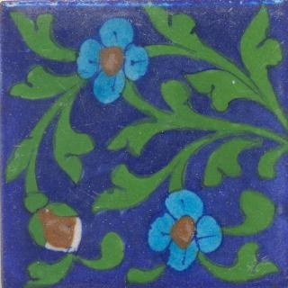 Turquoise and Brown Flower Green leaf with Blue Base Tile
