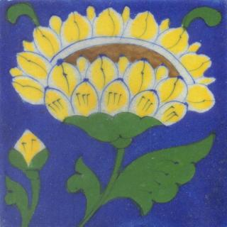 Yellow and Brown Flower and Green leaf with Blue Base Tile