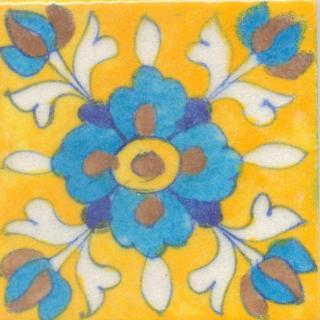 Turquoise,Brown and Yellow Flower and White leaf with Yellow Base Tile