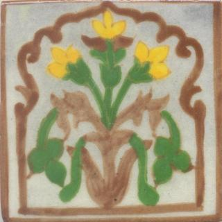 Yellow Flower and Green leaf and Brown design with White Base Tile