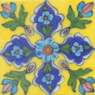 Turquoise Flower Green leaf Blue and Yellow Base Tile