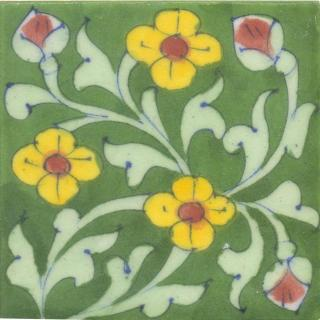 Yellow and Brown Flowers and Lime Green leaf with Green Base Tile