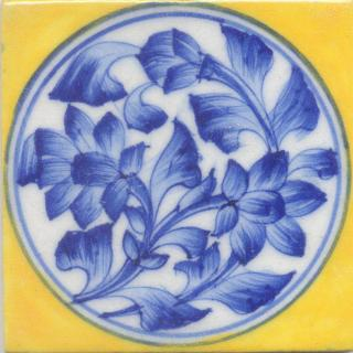 Blue Flower and leaf with Yellow Base Tile