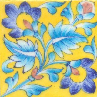 Blue,Yellow and Brown Flower and Turquoise leaf with Yellow Base Tile