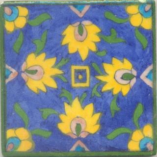 Yellow and Pink Flowers and Green leaf with Blue Base Tile