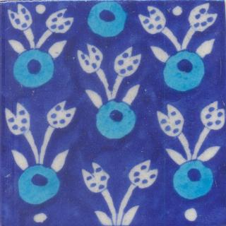Turquoise and Blue Round and White leaf with Blue Base Tile