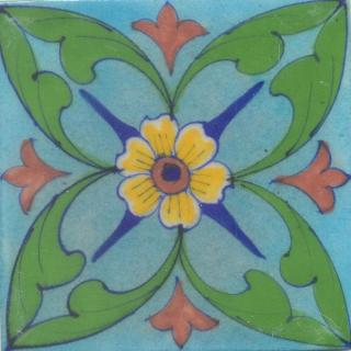 Yellow and Brown Flower and Green leaf with Turquoise Base Tile