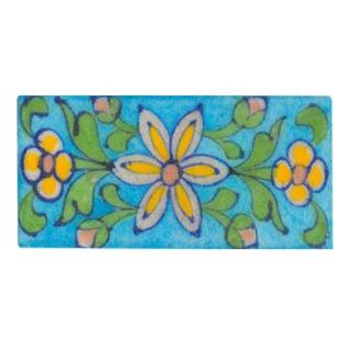 yellow flowers and green leaves design turquoise tile