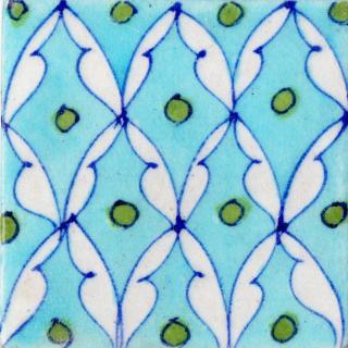 White Pattern and Green Dots Design On Turquoise Base tile