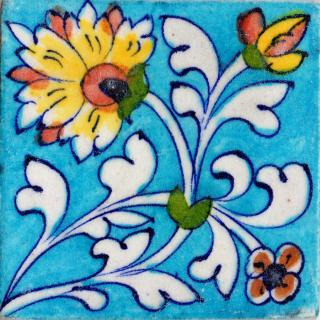 Yellow Flowers and White Leaves On Turquoise Base Tile