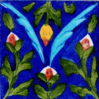 Green Leaves Design On Blue Base Tile