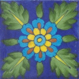 Green leaf and Yellow and Brown Flower with Blue Base Tile