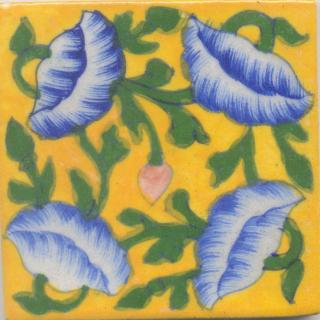 Blue Flowers and Green leaf with yellow Base Tile