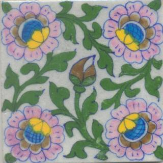 Pink, Yellow and Brown Flowers and Green leaf with White base Tile