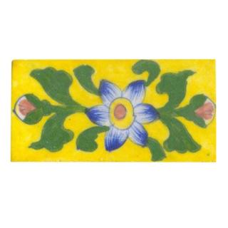 blue white shaded flower with big green leaves on yellow tile 2x4