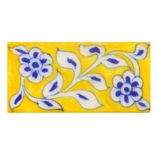 blue & white curve design on yellow tile 2x4