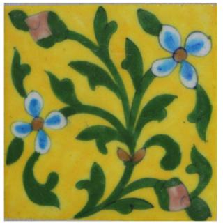 Yellow Base and Green Leaves 4x4 Tile