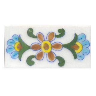 Turquoise,Yellow,Brown and Green leaf with White Base Tile