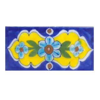 Turquoise,Brown,Pink Flower and Green leaf with Blue Base Tile (2x6)
