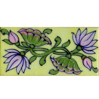 Pink Lotus Flowers With Green Leaves On Light Green Tile