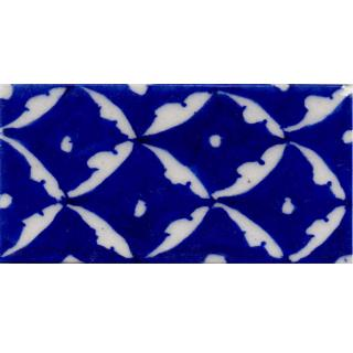 White Pattern on Blue Base Tile