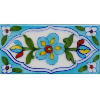 Turquoise Flowers and Green Leaves On Turquoise Base Tile