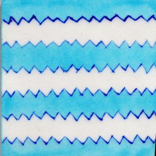 Turquoise and White Zig - Zag Design Tile