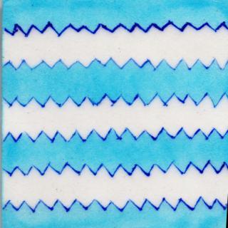 Turquoise and White Zig - Zag Design Tile