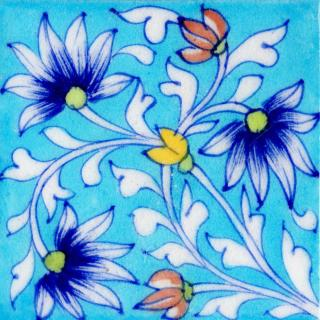 Blue Flowers and White Leaves On Turquoise Base tile