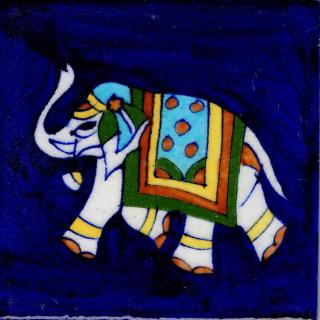 Elephant Design On Blue Base Tile