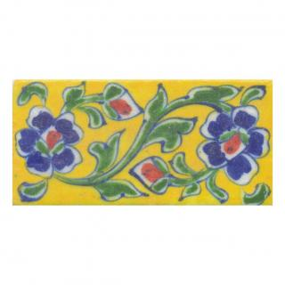 Blue and Brown Flowers and Green leaf with Yellow Base Tile