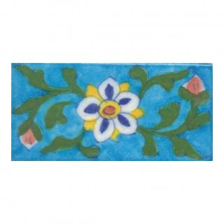 Yellow,Blue,Brown and White Flower and Green leaf  with Turquoise Base TileYello