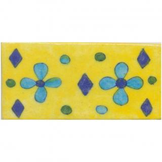 Flowers Deisgn on Yellow Base Tile