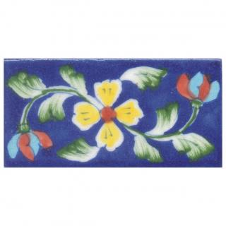 Yellow and Red Flower and Lime Green leaf with Blue Base Tile