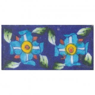 Two Turquoise Flowers on Blue Base Tile