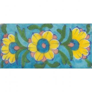 Yellow Flowers on Turquoise Base Tile