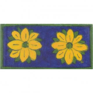 Yellow and Green Flowers with Blue Base Tile