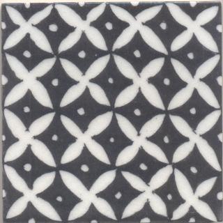 White flower and Black base Tile (4x4)