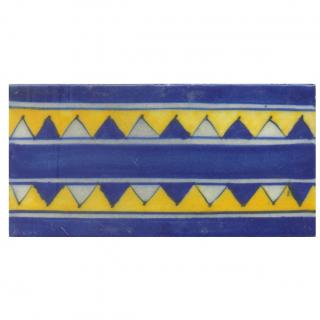 Blue and Yellow Zig-Zag Tile