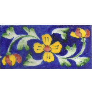 Yellow Flowers With Green Leaves On Blue Base Tile