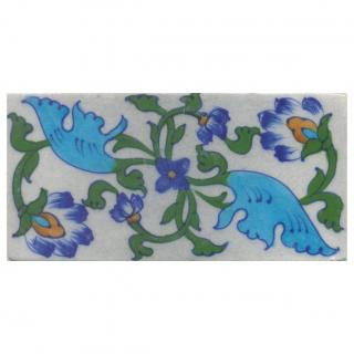 turquoise blue and green design on white tile