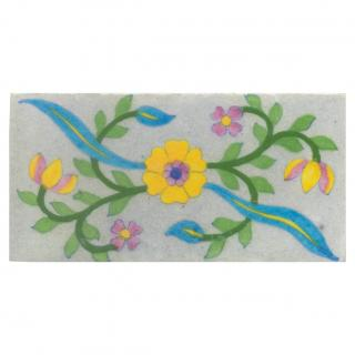 White tile with yellow, pink turquoise & green floral