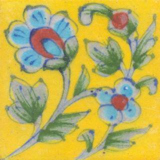 Turquoise and Red Flowers and Lime Green leaf with Yellow base Tile