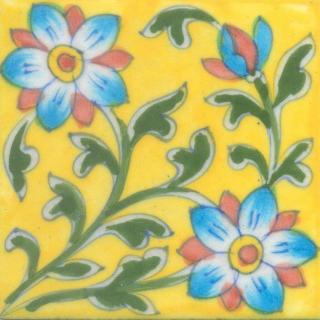 Turquoise, Brown Flower and Green leaf  with Yellow Tile